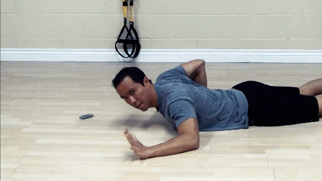 shoulder impingement stretches - hovering pushup